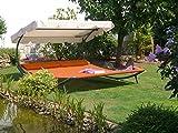 Solax-Sunshine Doppel Gartenliege Sonnenliege Relaxliege Doppelliege Sonnendach terrakotta Neu