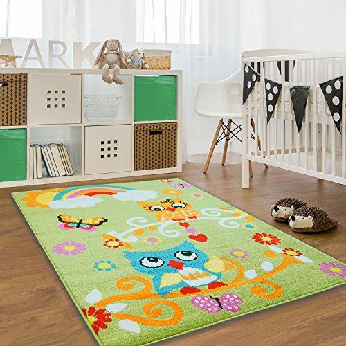 Kinder Teppich Moda Öko Tex Eule grün bunt verschiedene Größen 160x225 cm