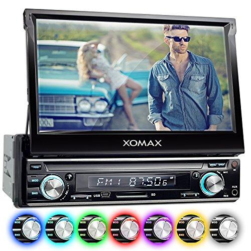 XOMAX XM-VRSU743BT radio para coche/coche + Monitor motorizado + 18 cm/7'' pantalla táctil de alta definición HD + de vídeo y Audio: MP3 incl ID3 TAG, WMA, MPEG4, AVI etc, + Bluetooth manos libres y reproducción de música via A2DP + 7 colores de iluminación ajustable + Conexión USB hasta 128 GB! + ranura para tarjetas SD de hasta 128 GB! + cámara de conexión + conexión para Subwoofer + Single DIN (1 DIN) Tamaño de instalación estándar + con mando a distancia y marco
