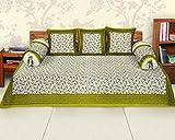 Frabjous Cotton Printed Diwan Set -Pack of 6 - Multicolor Variation (Green)