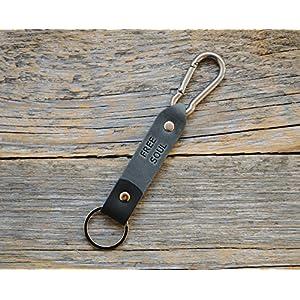 Graues und Schwarzes Leder Karabiner Schlüsselanhänger Ringhalter Klammer Schlüssel Karabiner-haken Geschenk Schlüsselband Anhänger
