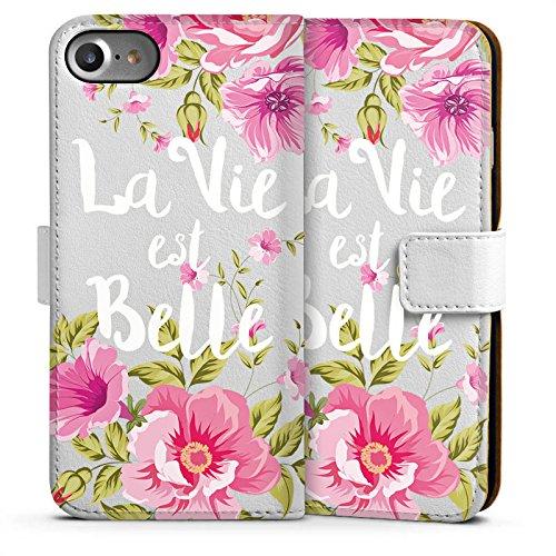 Apple iPhone 6 Silikon Hülle Case Schutzhülle La vie est belle Französisch Blumen Sideflip Tasche weiß