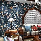 AIEK Tapete Vliestapete Fototapete Blumen Baum mit Vögel Vintage Stil 53 * 1000cm Wandtapete Wandbilder Wandbild, 4