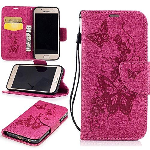 Cozy Hut Premium Handy Schutzhülle Tasche Leder Wallet Tasche Flip Brieftasche Etui Schale Mit Kartenfach Magnetverschluss Standfunktion für Samsung Galaxy A3 2017 - Rose Red Butterfly