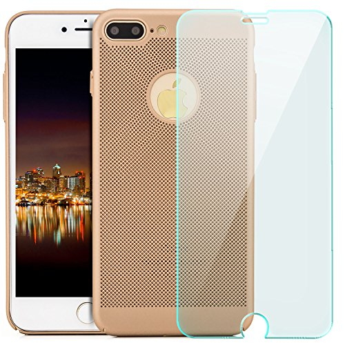 iPhone 7 Plus Hülle + Panzerglas, Premium Schutzhülle Hard Case Ultra Slim Cover Handyhülle | Schwarz Gold