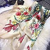 Ogquaton Écharpe d'été rétro pour femme avec foulard en soie à imprimé ethnique et écran solaire