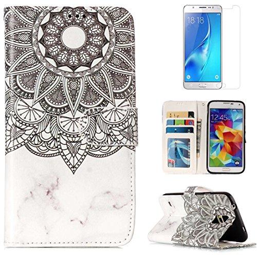 OYIME für Samsung Galaxy S5 /S5 Neo Leder Hülle mit Muster Marmor Mandala, Relief Tasche Magnet Kartenfach Stoßfest Komplett Schutz Handyhülle zum Klappen Folio Klapphülle mit Displayschutzfolie