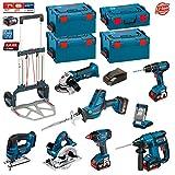 Kit Bosch PSL8P4A (GST 18 V-LI + GKS 18 V-LI + GDX 18 V-LI + GBH 18 V-EC + GSA 18 V-LI C + GLI VariLED + GSB 18-2-LI + GWS 18 V-LI + Ladegerät AL1860 + 4 Batterien x 5,0Ah + 3 x Koffer L-Boxx 238 + Koffer L-Boxx 136 + Caddy)