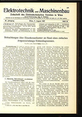 Betrachtungen über Einankerumformer an Hand eines einfachen Amperewindungs-Vektordiagrammes, in: ELEKTRONIK UND MASCHINENBAU, Heft 32/1927 (45. Jg.).
