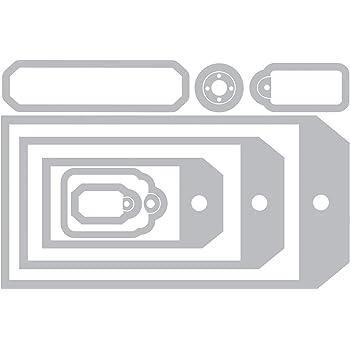 Sizzix Framelits Fustelle, Set di 8 Pz, Collezione di Etichette by Tim Holtz, Bianco, Acciaio inossidabile