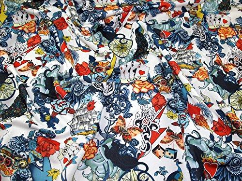 Minerva Crafts Lucky Karten Print Loop Back Sweatshirt Kleid Stoff Weiß-Meterware - Lucky-jersey Sweatshirt
