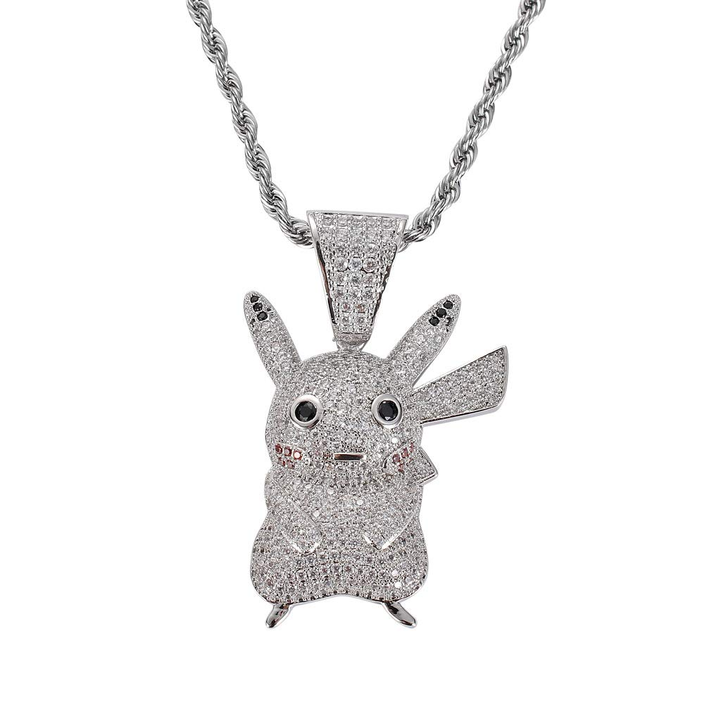 Moca Jewelry Hip Hop Iced Out Cute Pikachu Pendant Fully Simulated Diamond Chain 18K Gold Plated Necklace for Men Women Kids