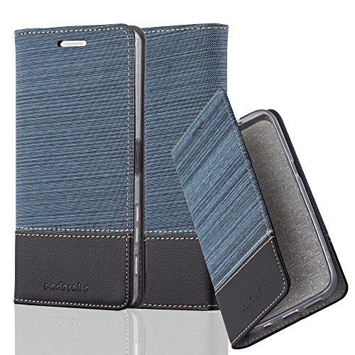 Cadorabo Hülle für Sony Xperia X - Hülle in DUNKEL BLAU SCHWARZ - Handyhülle mit Standfunktion & Kartenfach im Stoff Design - Case Cover Schutzhülle Etui Tasche Book