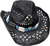 Cowboyhut Strohhut Westernhut Hut mit Hutband schwarz in verschiedenen Größen