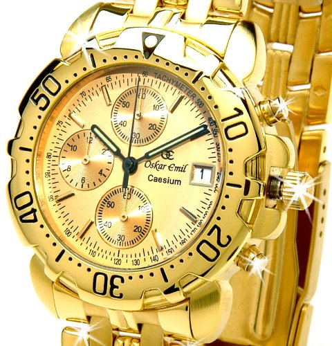 Oskar Emil Gents Caesium 1119G 23K Gold Chronograph Sports Watch with Gold Dial