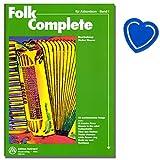 50 weltbekannte Songs für Akkordeon wurden von Walter Maurer im leichten bis mittleren Schwierigkeitsgrad bearbeitet - Notenbuch mit bunter herzförmiger Notenklammer