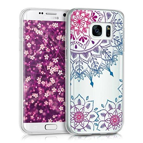 kwmobile Samsung Galaxy S7 Hülle - Handyhülle für Samsung Galaxy S7 - Handy Case in Pink Blau Transparent -