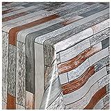 WACHSTUCH Tischdecken Wachstuch Tischdecke Gartentischdecke mit Fleecerücken Gartentischdecke, Pflegeleicht Schmutzabweisend Abwaschbar Bausteine Ziegel Grau-Braun 190x 140 cm - Größe wählbar