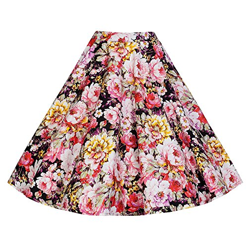 LAEMILIA-Damen-Vintage-Retro-Rock-Blumendruck-Print-Mini-Kleid-Abendrock-Faltenrock-Skirt