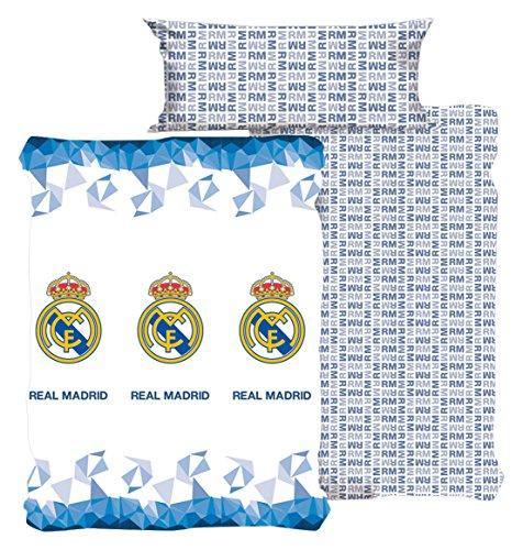 Style Real Madrid Juego Sábanas, Algodón-Poliéster, Blanco, Individual, 200x90x3 cm
