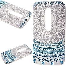 We Love Case Funda para Motorola Moto G 3ème génération / Moto G3 Carcasa Tribal Étnico Diseño Funda Silicona Gel TPU Bumper Case Cover Flexible Carcasa Transparente Cubierta de Teléfono Absorción Choques Resistente a los Arañazos - Mandala Azul Claro