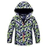 Jungen Übergangsjacke Jacke mit Fleecefütterung winddicht warm wasserdicht atmungsaktiv Regenjacke Wanderjacke Herbst Grau 140