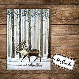 A6 Weihnachtskarte Postkarte Print Rentier & Zwerg im Wald mit Spruch Allerfröhlichste Weihnachten pk139 ilka parey wandtattoo-welt®