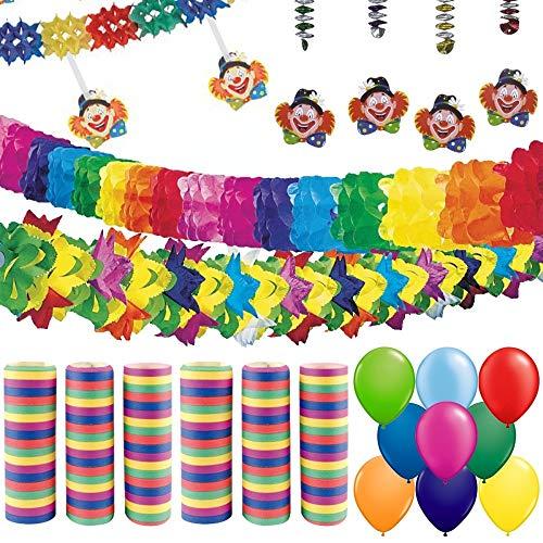 partydiscount24 Partypaket Dekoset Karneval / Fasching 63 Teile - Karnevalsdeko