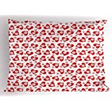 Ambesonne Valentines Pillow Sham, Romantic Feelings Illustration with Hearts and Flowers Valentines Day, Decorative Standard Size Printed Pillowcase, 26 X 20 Inches, Dark Coral White