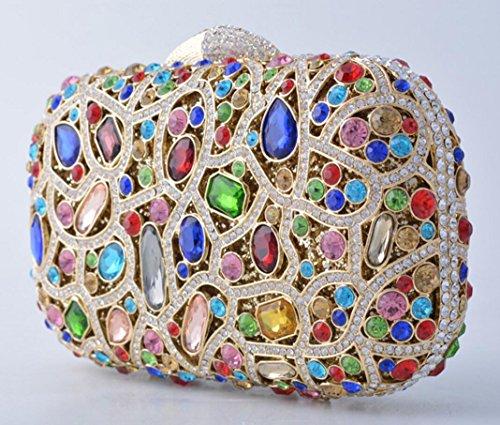 XYXM Sacchetto di sera di pacchetto del vestito dal sacchetto di cristallo handmade del metallo della borsa del trivello di frizione della signora , color color