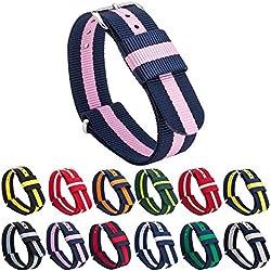 GEMONY NATO Strap Bracelet de Montre Nylon Watch Band Homme Femme Bracelet Boucle Wrist Watch Deployante for DW,WB-099D
