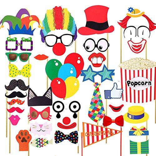 Tinksky 36PCS Foto-Stand-Stützen Lustige Zirkus-Foto-Stützen für Hochzeits-Geburtstags-Karnevals-Bachelorette Verkleidungs-Zusätze
