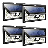 Litom Solarleuchten, 24 LED Wandleuchte Außen, Solar Betriebene Außenleuchte, Wasserdichte 3 Modi Sicherheit Licht für Garten, Zaun 4 Stück