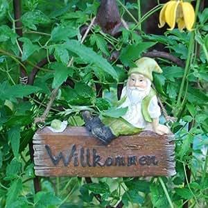 Gardens2you Plaque de bienvenue pour porte de jardin Motif nain et escargot avec inscription en allemand Willkommen