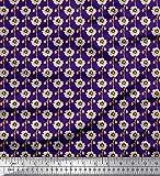 Soimoi Lila Satin Seide Stoff künstlerisch Blumen- Stoff
