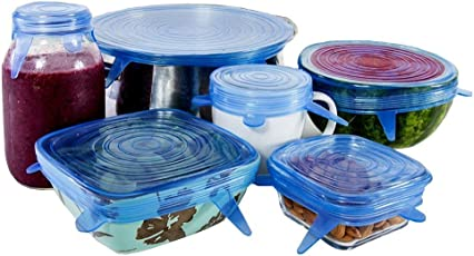 Ziaon Silicone Stretch Lids,Set of 6 Multi Size Reusable Silicone Lids Food and Bowl Covers ,Dishwasher and Freezer Safe (Blue)