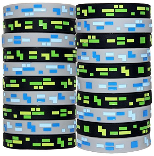 Jade's Party Packs 8-Bit Pixelated Armbänder für Geburtstagspartys, 20 Stück