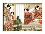 Quadro Stampa su Tela con Telaio in Legno Shunsho Bellezze Giapponesi 70x50 CM