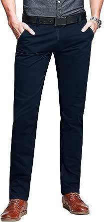Match Men's Slim Tapered Casual Trousers#8025 (Blue,36W x Regular/XXL)