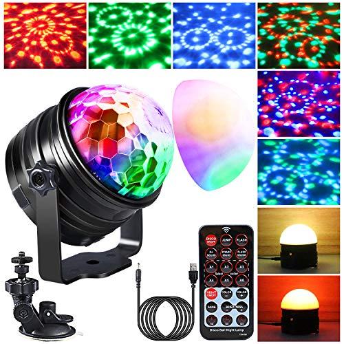 Disco Licht & Nachtlicht 2 in 1,Emooqi NEUES UPGRADE Discokugel 4M USB Kabel PartyLicht mit 360°Rotierenden & Musik Aktiviert &Fernbedienung...