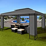 Deuba® Pavillon 3x4m anthrazit ✔ 12m² ✔ wasserabweisend ✔ Dachhaube ✔ Festzelt ✔ Partyzelt