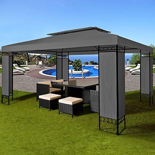Deuba Pavillon 3x4m anthrazit ✔ 12m² ✔ wasserabweisend ✔ Dachhaube ✔ Festzelt ✔ Partyzelt