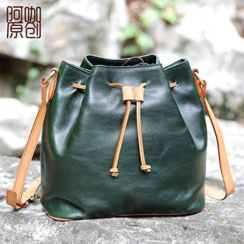 L'art original vintage en cuir sac bandoulière cordon cuir sac à main seau,vert forêt Forest Green
