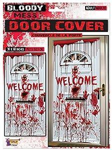 Forum Novelties X79044 Bloody Welcome - Funda para puerta, color rojo y blanco, talla única