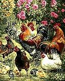 CaptainCrafts Neu Malen Nach Zahlen 16x20 für Erwachsene Anfänger Kinder, Kinder Leinwand - Blumen Eine Gruppe Hühner - Weihnachten Valentinstag Geburtstag Das Beste Geschenk (mit Rahmen)