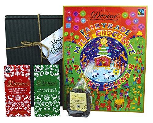 A Divine Christmas - Fairtrade Chocolate Hamper - Advent Calendar, Dark w/ Cranberries & Hazelnut, Dark Caramelised Almonds, Milk w/ Spiced Cookies - Includes Christmas Gift Box & Tags!