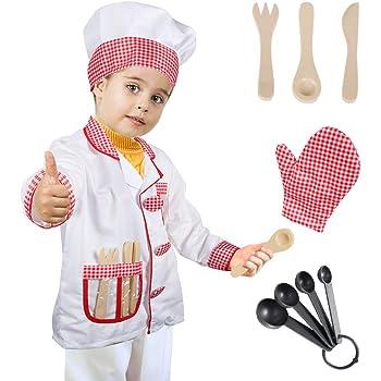 Tacobear Chef Costume Bambino Chef Gioco Accessori Travestimento Capocuoco Costume  di Ruolo Bambini per Natale Halloween Festa Carnevale 8 Pezzi 593f5d77966f