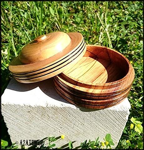 Boite ronde bois - boite à bijoux - décoration intérieure - bonbonnière -