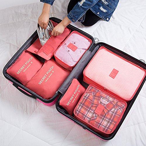 FunYoung Kleidertaschen-Set 7-teilig Reisetasche in Koffer Wäschebeutel Schuhbeutel Kosmetik Aufbewahrungstasche Farbwahl (Grau) Rosa