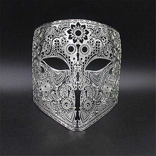 (Masken Gesichtsmaske Gesichtsschutz Domino falsche Front Grimasse Make-up Maske Abschlussball Venedig Metall Vollgesicht Show Halloween Party Maske Cosplay Männer und Frauen Silber)